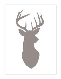 Deer Head Print Silhouette - Color on White Background - Deer Oh Deer -  8x10 inch Stag Antlers Fine Art. $24.00, via Etsy.