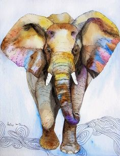 OOAK 8x10 Original Watercolor Elephant art Nursery by asho on Etsy