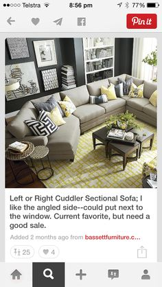 Basement -- add an angled piece on the right as well, and this would work like the curved couch.  CU.2 Cuddler L-Shaped Sectional. Bassett furniture