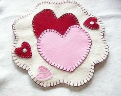 VALENTINE Handmade wool felt penny rug candle mat RED and PINK hearts