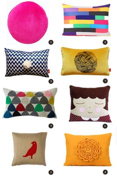 Eat Drink Chic » Archives  1 ) Pink Velvet Penny Round Cushion from Castle    2) Eco Felt MultiColor Standard Size Sham from Ekofabrik    3) Coloured Ikat cushion from Marika Giancinti    4) Black rope print mustard velvet cushion from Marika Giacinti    5) Plectrum 2 cushion by De La Espada    6) Cushion Julie from Cookie Cutter    7) Dove Left from De La Espada    8) Flower cushion cover from Ekofabrik