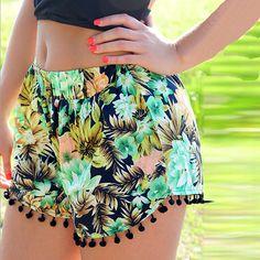 Encontrar Más Shorts Información acerca de Mujer cintura alta Floral Short niña playa de verano pantalones cortos ocasionales, alta calidad Shorts de Wholesale Big Deal en Aliexpress.com
