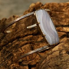 Huge white agate bangle bracelet with double silver bangle and gemstone set in silver and brass setting