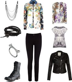 "[Requested by Anonymous] Outfit inspired by Infinite L's in ""Destiny"" (ver. B) More Outfit on I Dress Kpop Get The Look : Necklace Bracelet Bone Ring Black Boots Blouse (Blue) Black Jeans Blouse (Purple) T-Shirt  Leather Jacket"
