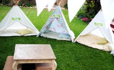 How To Make A Teepee or camping tent for your unit of camping.  Make a few and put on the playground.