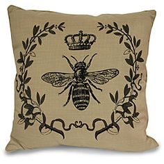 @Overstock - A graceful bee design graces this Royal Bee pillow to instantly add a touch of vintage class to your home. This decorative pillow features a natural-colored background and black print.  http://www.overstock.com/Home-Garden/Royal-Bee-Pillow/5597031/product.html?CID=214117 $23.49