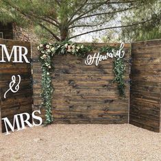 wedding backdrop Handlettered Laser Cut Wedding Signs from Deco Ink Designs Wedding Book, Wedding Tips, Diy Wedding, Wedding Venues, Wedding Flowers, Wedding Planning, Wedding Day, Decor Wedding, Pallet Wedding