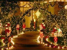 Love this Christmas outdoor lighting idea
