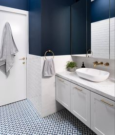 """1,323 Likes, 19 Comments - GIA Bathrooms & Kitchens (@gia_renovations) on Instagram: """"Classic blues and golds in this #PrahranProject bathroom exudes the ultimate touch of luxury. ✨"""""""