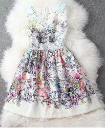 $17.11 Elegant Style Floral Print Sleeveless Scoop Neck Slimming Dress For Women