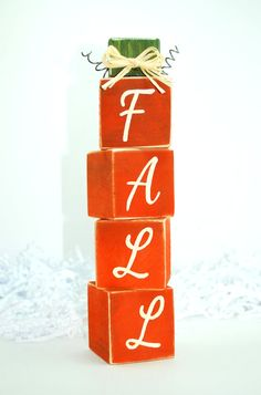 Fall Pumpkin WoodenBlock Stack by WoodenBlock on Etsy