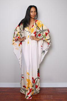 Robe caftan robe longue fleurie : Funky élégante par Nuichan