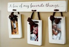 I could so make this. painted board, frames, have hubby drill couple holes, add ribbon. Ta-da!