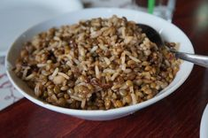 Mujaddara- Tasty cooked lentils together with various grains, generally rice, and garnished with sautéed onions.
