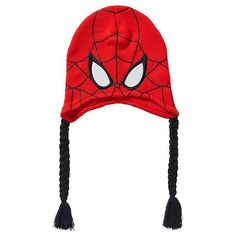 Boys red spider - man knitted  beanie web print Knit Beanie, Spiderman, Winter Hats, Boys, Red, Spider Man, Baby Boys, Knit Hats, Guys