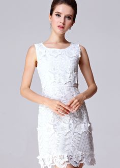 White Sleeveless Applique Slim Lace Dress