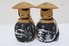 Vintage 2 Kokeshi Made in Japan Japanese Antique Wooden Doll 10cm Used