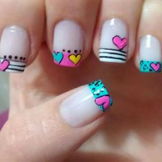 Viviana                                                                                                                                                      Más Kawaii Nail Art, Cute Nail Art, Easy Nail Art, Love Nails, Fun Nails, Pretty Nails, Valentine Nail Art, Nails For Kids, French Tip Nails