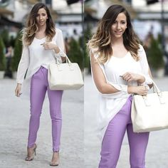 I love the purple pants. So fresh for Spring and Summer! Great heels and bag.
