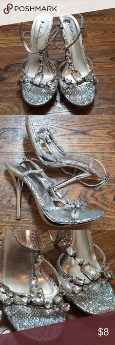 Rhinestone Sparkly Shoes Homecoming, wedding, ball, special occasion shoes. All rhinestones in tact, however they are tarnishing on side. Good price to wear once for that special occasion 😊 Sarah Jayne Shoes Heels