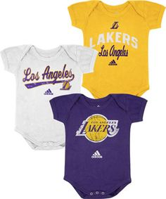 06a78fb18 Los Angeles Lakers Infant Baby adidas 3-Pack Creeper Set  lakers  nba