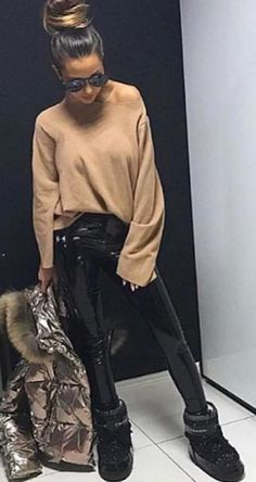 #winter #outfits brown long-sleeved shirt and black latex pants