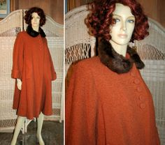 1940s Pumpkin Wool Swing Coat with Mink Collar and Arrow Shape Pockets, M/L from Morning Glorious Vintage