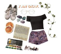 """""""rush"""" by sspaceprincess ❤ liked on Polyvore featuring MINKPINK, RetroSuperFuture and adidas"""