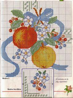 ♥Meus Gráficos De Ponto Cruz♥: Toalha de Mesa com Frutas e Flores em Ponto Cruz