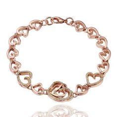 18K Rose Gold Plated So Much Love Heart Link Bracelet