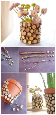 Wood Log Slices Vase - 100 DIY Vases or Centerpiece – Unique Ways to DIY Your Vases