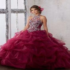 c021f8298a9    40 OFF   Gorgeous Burgundy Mint Blue Quinceanera Dress 2017 Halter Ball  Gown Beaded Cheap