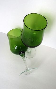 vintage green wine glasses 1970s housewares