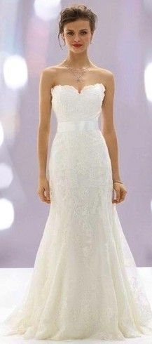 custom made trumpet / mermaid lace sleeveless bridal gown