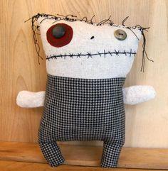 OOAK Plush Zombie Monster Folk Art Doll Softie