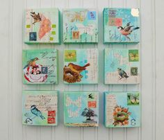 "4x4"" Deco Squares Canvas Art ~ Birds and Butterflies - Set of 9 Original Mixed Media Paintings"