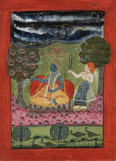 An illustration from a dispersed Ragamala series. A crowned figure is seated in a forest landscape with monsoonal clouds above. The corresponding verse is inscribed on the reverse.       Rajasthan School.  Date      1772.      Painted in: Rajasthan