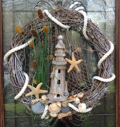 Nautical Lighthouse wreath by BCCbyBecca on Etsy