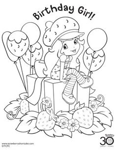 12 Strawberry Shortcake Birthday Party Printable Coloring Pages - TheSuburbanMom Birthday Coloring Pages, Cute Coloring Pages, Cartoon Coloring Pages, Printable Coloring Pages, Adult Coloring Pages, Coloring Pages For Kids, Coloring Sheets, Coloring Books, Kids Coloring