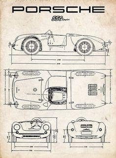 PORSCHE 550 SPYDER DIAGRAM VINTAGE RACECAR – PARCHMENT 911 356