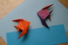 learn how to make an origami angel fish - hang a few with tackle for a mobile