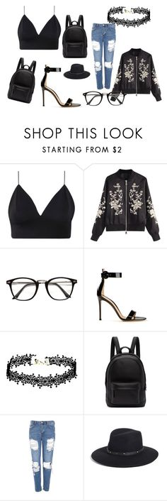 """""""Back in Black"""" by heidi-milne ❤ liked on Polyvore featuring Gianvito Rossi, PB 0110, Topshop and Eric Javits"""