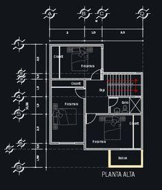 Plano de casa de 2 pisos con 4 dormitorios y 2 baños