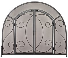 Uniflame® Arched Single Panel Black Wrought Iron Scrolled Fireplace Fire Screen with Doors