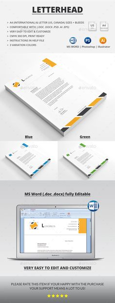 Pofessional Letterhead Template Bundle Letterhead template - free word letterhead template