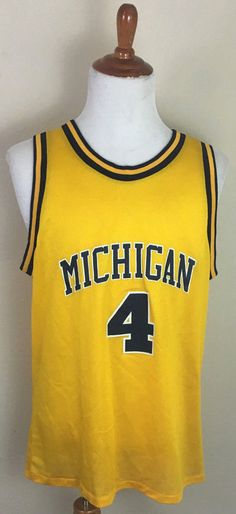 Vtg. Logo Athletic Chris Webber Michigan Wolverines NCAA Jersey Fab 5 Size Large #LogoAthletic #MichiganWolverines