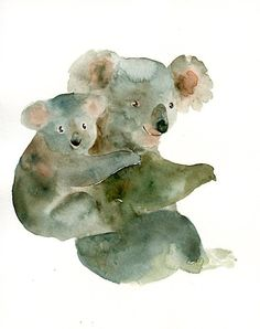 MOM KOALA with her little GUY Original watercolor painting 8X10inch