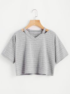 69c2ff9f213e Shop Cut Out Neck Striped Crop Tee online. SHEIN offers Cut Out Neck  Striped Crop Tee   more to fit your fashionable needs.