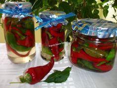 Ardei iuti la borcan Canning Pickles, Pickels, Desert Recipes, Celery, Preserves, Pantry, Mason Jars, Homemade, Cooking