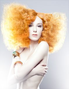 Orangish Blonde Frizzy Wig with Side Part. Editorial Hair.